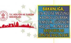 İŞKUR tarafından Kültür ve Turizm Bakanlığı'na en az lise mezunu 56 kadrolu işçi alımı yapılacaktır