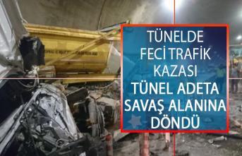 İstanbul Sabiha Gökçen Havalimanı Bağlantı Yolundaki Tünelde Feci Kaza! Tünel Adeta Savaş Alanına Döndü