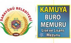 Konya Sarayönü Belediyesi kadrolu lise ve lisans mezunu büro memuru alımı başvuru ilanı