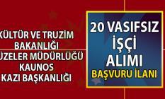 Kültür ve Turizm Bakanlığı'na bağlı Kaunos Kazı Başkanlığı vasıfsız 20 işçi alımı yapacaktır.