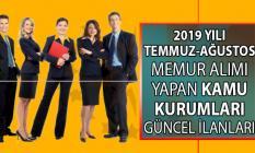 Temmuz ve Ağustos aylarında KPSS'li ve KPSS'siz memur alımı yapan kamu kurumları iş ilanları!