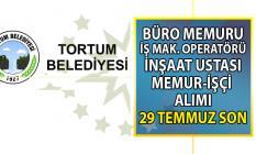 Tortum Belediyesi 9 memur-işçi alımı başvuru ilanı