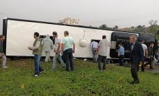Çanakkale'nin Biga İlçesinde Yolcu Otobüsü Devrildi! Çok Sayıda Yolcu Yaralı