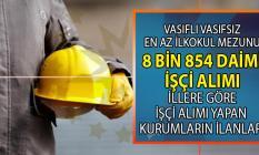 İŞKUR en az ilkokul mezunu vasıflı vasıfsız 8 bin 854 daimi işçi alımı için tam 2 bin 158 iş ilanı yayınladı!