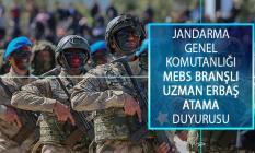 Jandarma Genel Komutanlığı (JGK) MEBS Branşlı Uzman Erbaş Atama Duyurusu Yayımlandı!