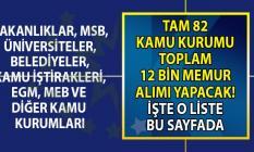 12 bin personel alımı yapılacak! KPSS'li ve KPSS'siz kamu personeli alımı yapan 82 resmi kurumun güncel iş ilanları!