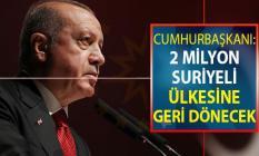 Cumhurbaşkanı Erdoğan: 2 Milyon Suriyeli Ülkesine Geri Dönecek
