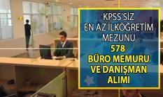 İŞKUR 10 gün içinde içerisinde KPSS Şartsız en az ilköğretim mezunu tam 578 büro memuru alımı yapıyor!