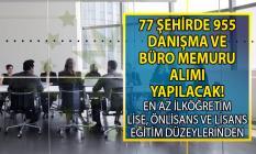 İŞKUR ile KPSS şartsız 955 büro memuru ve danışma personeli alımı