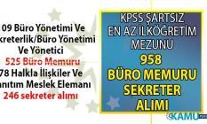 İŞKUR tarafından KPSS'siz en az ilköğretim mezunu 958 büro memuru ve sekreter alımı için yeni iş ilanları yayınladı!