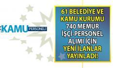 İŞKUR üzerinden 61 Belediye ve kamu kurumu KPSS'siz 740 memur-işçi ve nitelikli personel alımı yapacak!