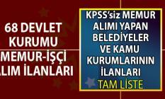 İŞKUR üzerinden KPSS'siz memur alımı yapan kamu kurumları ve belediyeler!