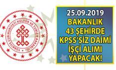 Kültür ve Turizm Bakanlığı 43 şehirde İŞKUR aracılığı ile KPSS'siz 140 daimi işçi-personel alımı yapacak!