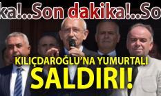Kuşadası'nda Kemal Kılıçdaroğlu'na yumurtalı saldırı!