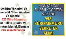 Türkiye İş Kurumu tarafından KPSS'siz en az ilköğretim mezunu 958 büro memuru ve sekreter alımı için yeni iş ilanları yayınladı!