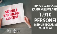 İŞKUR 05 Aralık Kamu İş İlanları! KPSS'li ve KPSS'siz 20 kamu kurumu 1910 personel alımı yapacak!