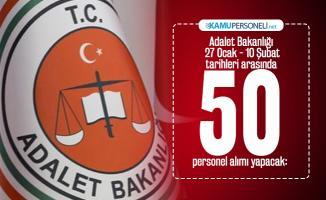 Adalet Bakanlığı 27 Ocak - 10 Şubat tarihleri arasında 50 personel alımı yapacak:  Başvuruları bugün başladı!