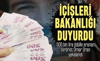 Son dakika 500 bin lira ödülle aranan terörist Ömer Oran yakalandı