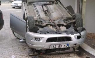 Tekirdağ Süleymanpaşa'da bir otomobil 10 metre yükseklikten site bahçesine düştü!