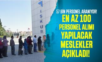 İŞKUR en az 100 personel alımı yapılacak meslekleri açıkladı! 57 bin personel aranıyor!