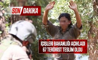Son dakika İçişleri Bakanlığı açıkladı: 67 terörist teslim oldu