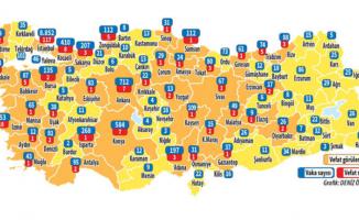 İstanbul, Ankara, İzmir il il güncel koronavirüs haritası şehirlere göre korona vaka ve ölü sayısı