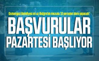 Osmangazi Belediyesi en az ilköğretim mezunu 10 personel alımı yapacak! Başvurular Pazartesi başlıyor