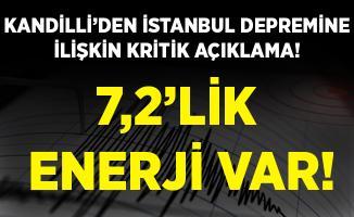 Kandilli'den beklenen büyük Marmara depremine ilişkin kritik açıklama! 7,2'lik enerji var!