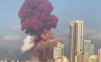 Beyrut'un şehir merkezinde korkunç patlama görüntüsü! Çok sayıda ölü ve yaralı var
