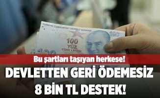 Bu şartları taşıyan herkese devletten geri ödemesiz 8 bin TL nakit destek veriliyor!