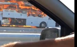 Kuzey Marmara Otoyolu'nda yolcu otobüsünde yangın çıktı!
