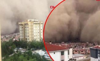 Ankara Polatlı'da oluşan kum fırtınası görenleri hayretlere düşürdü!