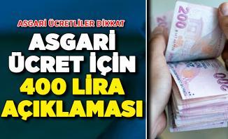 Asgari Ücret İçin Beklenen 400 Lira Açıklaması