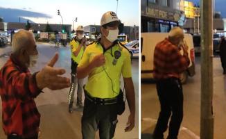 Polisi görünce maske takan yaşlı adam ceza yemekten kaçamadı!