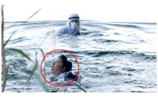 Rol gereği nehre giren oyuncunun yardımına turist koştu!