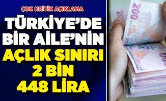 Türkiye'de Açlık Sınırı 2 Bin 448 Lira Oldu ! Kritik Açıklama Yapıldı