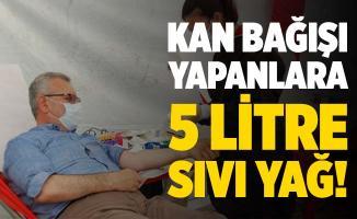 Kızılay çadırında kan bağışı yapana 5 litre sıvı yağ!