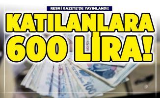 Resmi Gazete'de yayımlandı: Katılanlara 600 lira ödeme yapılacak