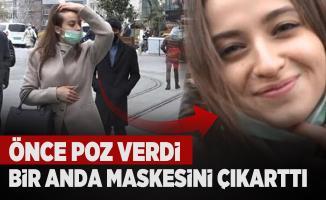 İstanbul'da İstiklal Caddesi'nde ilginç anlar! Önce poz verdi sonra maskesini çıkarttı
