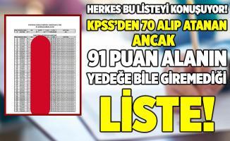 KPSS'den 70 puan alıp 82 - 91 puanlarını geride bırakarak tek kişilik kadroya yerleşen kişiyi gösteren listeye tepkiler çığ gibi büyüdü!