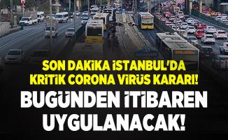 Son dakika İstanbul'da kritik corona virüs kararı! Bugünden itibaren uygulanacak!