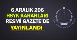6 Aralık 2016 HSYK Kararları Resmi Gazete'de Yayınlandı