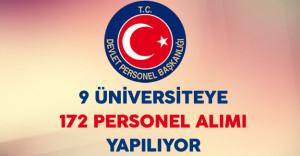 9 Üniversite 172 Personel Alımı İçin Devlet Personel Başkanlığı Aracılığıyla İlan Yayınladı