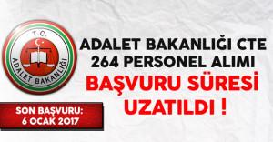 Adalet Bakanlığı CTE 264 Kamu Personeli Alımı Başvuru Süresi Uzatıldı !