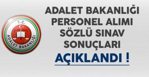 Adalet Bakanlığı Personel Alımı Sözlü Sınav Sonuçları Açıklandı
