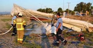 Ayvalık'ta Eğitim Uçağı Düştü