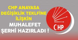 CHP Tarafından Anayasa Değişikliği Teklifine İlişkin Muhalefet Şerhi Hazırlandı