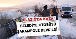 Elazığ Belediyesine Ait Otobüs Devrildi