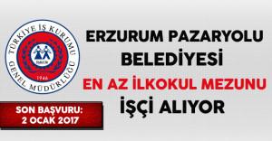 Erzurum Pazaryolu Belediyesi En Az İlkokul Mezunu İşçi Alıyor