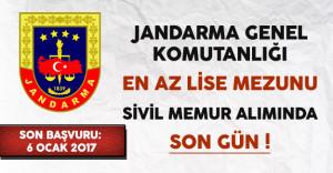 Jandarma Genel Komutanlığı En Az Lise Mezunu Sivil Memur Alımı Başvurularında Son Gün !